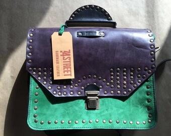 Messenger Bag, Woman briefcase, Purple Genuine leather bag, Eyelets Leather Bag, Crossbody Bag,