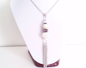 """Necklace fine sautoir """"of silver, black and pink"""""""