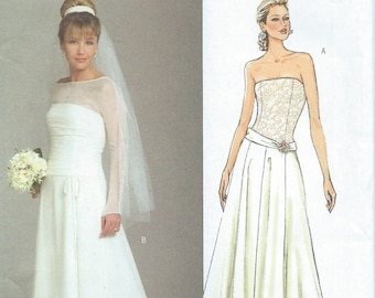 UNCUT Misses' Wedding Dress Sewing Pattern Butterick 4734 Size 8-10-12-142 Prom Dress, Formal, Party, Ball Gown, Princess
