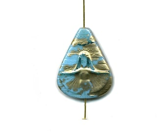 Vintage Czech Revival Inspired Pendant Bead 31mm Blue Enamel on Glass w/ Gold Color Accents