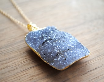 "Raw Druzy Necklace - Gold Edge on 30"" 14k Delicate Gold Filled Chain, Grey White Drusy Necklace, Long Druzy Necklace"