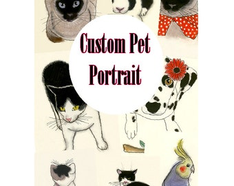 "Custom Pet Portrait - Custom Pet Art - Custom Pet Drawing  5.8"" X 8.3"""