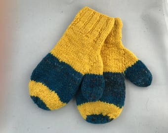 Blue and gold mittens