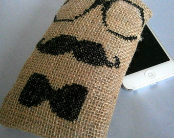 Cross Stitched Geek Chic Moustache iPod Case, Mobile Phone Case, Men's iPod case, Men's cell case, iPod cover, Moustache Phone Case