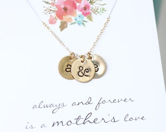 Mother's Necklace, Mom Initial Necklace, Children's Initials, Two Children, Gold Initial Necklace, Lowercase Letters, Typewriter font, GOLD