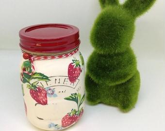 Cath Kidston inspired Strawberry, Storage Jar, Treat Jar,  Mason Jar
