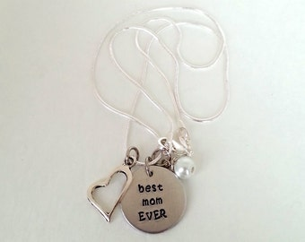 Best Mom EVER Hand Stamped Silver Necklace