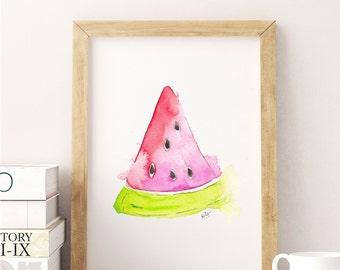 Watermelon Painting - Watermelon Kitchen Artwork - Watermelon Watercolor Print - Watermelon Kitchen Painting - Food Kitchen Art