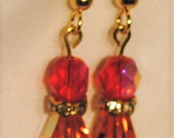 Swarovski Crystal Earrings Padparadsha (pink)