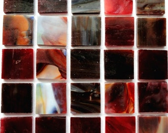 """20mm (3/4"""") Cranberry Red and Brown STAINED GLASS Mosaic Tiles//Craft Supplies//Mosaic Pieces//Mosaic Supplies"""