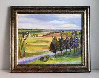 Original Oil Painting, Plein Air Painting, Balducci Vineyards, Augusta Missouri, Fine Art, Landscape 16x20 on Canvas, Framed Wall Hanging