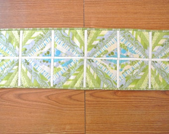 Radiant Blue-Green Quilted Table Runner or Centerpiece - Green-centric and 1 dollar donation