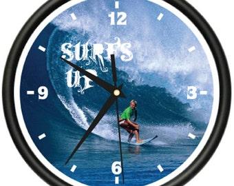 Surfing Wall Clock Surf Board Bag Surfer Bedroom Gift