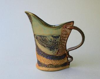 Hand-built Stoneware Owl Pitcher