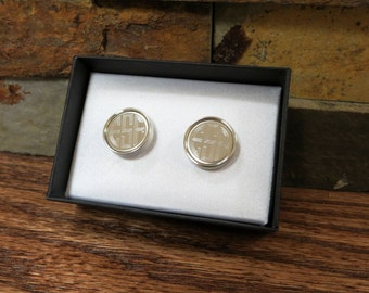 Round Cuff Links-  Monogrammed- Personalized- Groomsmen Gift- Silver Cuff links- Gifts for men (CU901)