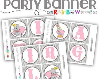 PRTYB-775: DIY - Vintage Elephant Party Banner - Instant Downloadable File
