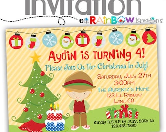 630: DIY - Christmas In July 2 Party Invitation Or Thank You Card