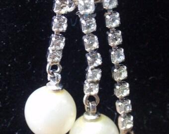 Ciner  Faux Pearl and Rhinestone Drop Clip Earrings