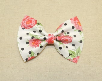 Polka Dot Floral Faux Leather Bow Tie and Hair Bow