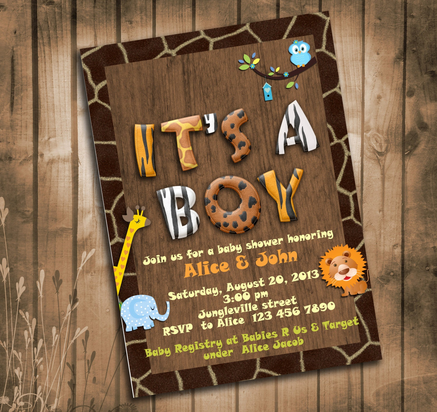 Jungle animals safari baby shower invitation with giraffe zoom filmwisefo