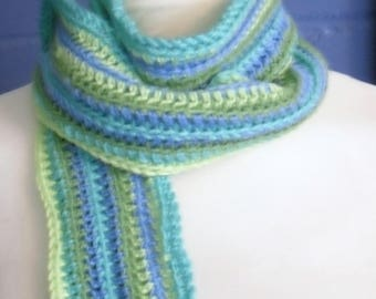 Crochet Scarf, Green and Blue Long Crochet Scarf