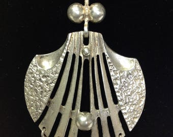 Vintage .925 Silver Modernist Pendant Necklace