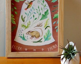 Flora and Fauna Terrarium Art Print