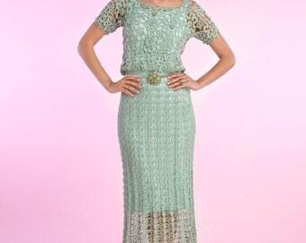 Crochet  Dress MADE TO ORDER  Crochet Dress  custom made, hand made, crochet -     silk-rayon