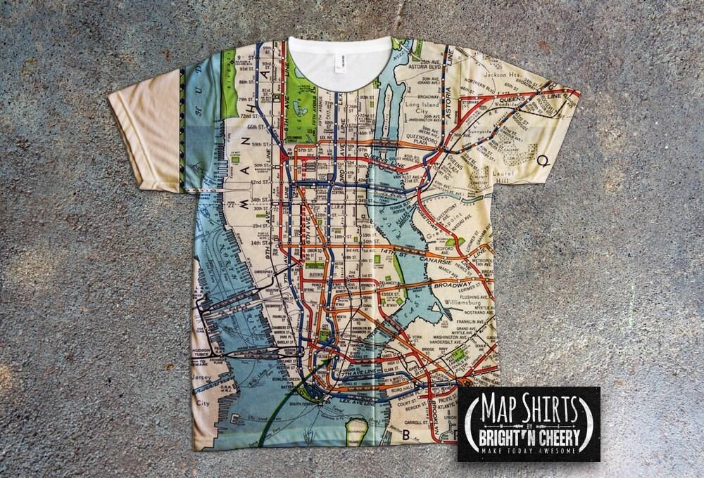 zoom Vintage 1939 NYC Subway Map Shirt
