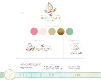 Mini Branding Package ,Horse Logo, Floral Logo, Photography Logo,Artisan Logo, Boutique Logo ,Horse Stable Logo, Gold Foil Logo, Watermark