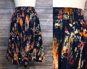 1970s Navy Abstract Skirt / 70s Brushstrokes Pleated Vintage Skirt