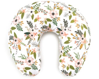 Nursing Pillow Cover Blush Sprigs and Blooms. Nursing Pillow. Nursing Pillow Cover. Floral Nursing Pillow Cover.