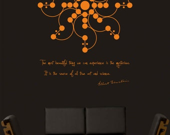 Science art physics Albert Einstein quote and crop field design vinyl wall decal for your lab scientific decor (ID: 121048)