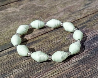 Handmade bracelet with pastel mint green recycled paper and silver glass beads