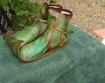 Artisan Made Leather Fairy Shoes Renaissance Boots Woodlands Faerie Custom Shoes Handmade by Debbie Leather