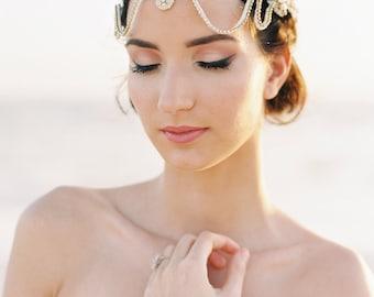 Pièce d'or cheveux nuptiales. Casque nuptiale. Boho Bridal bandeau {Sienna} par RomanticARTlife