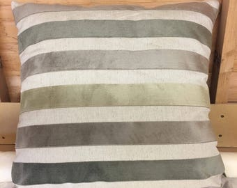 "Green striped 24"" x 24"" zipped cushion cover"