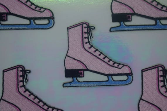 Pink Ice Skate Iron on Patch