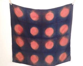 Naturally Dyed 100% Silk Square Scarf Bandana - Indigo + Madder - Blue + Red