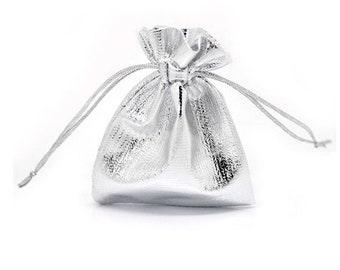 100pcs Little Satin Gift Bags 9x7cm,Drawstring Pouches For Jewelry, packaging Bags
