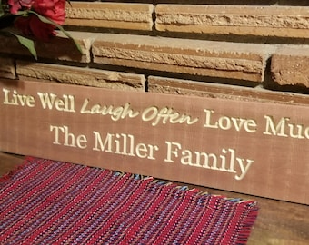Customized Live Laugh Love Family Sign