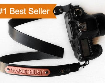 Leather Camera Strap Personalized Gift, Black Camera Strap with Custom Personalized Name, Photographer Gift for DSLR and SLR