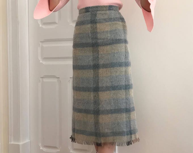 90's Vintage Mohair Plaid Skirt