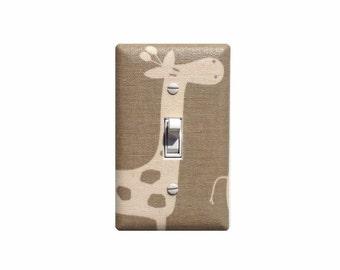 Maple Taupe Giraffe Light Switch Plate / Baby Girl Boy Gender Neutral Nursery Wall Decor / Premier Prints Gisella Stretch