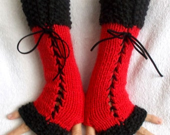 Fingerless Gloves Corset Wrist Warmers  in Red and Grey Handknitted Victorian Style