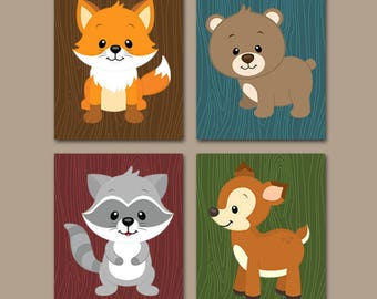 WOODLAND Animals Wall Art, Woodland Nursery Decor, CANVAS or Prints, Baby Woodland Decor, Forest Animals, Bear Fox Deer Raccoon, Set of 4