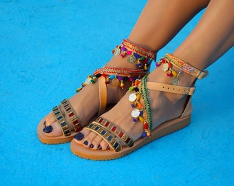 Boho sandals, Greek sandals, Colorful sandals, Handmade leather sandals, Ethnic sandals ''Spell Bound''