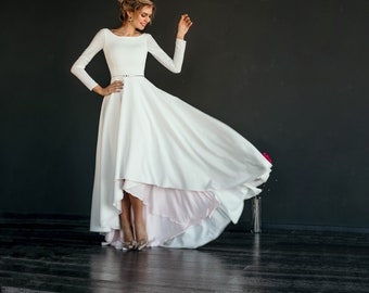 """High low skirt simple wedding dress """"Makani"""", crepe bodice with long narrow sleeves, A line skirt, skirt color lining, scoop back, modest"""