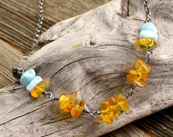 Earth and Sky Necklace in Amber, Larimar, and Sterling Silver