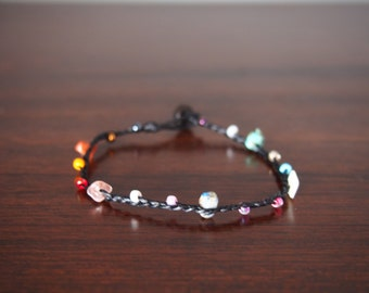 mix multicolored stone bracelet/handmade Bracelet Wax String Thailand - FAIR TRADE Handmade Jewelry Summer trends/lucky stone bracelet/simpl
